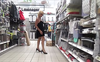 shopping woman in chastity