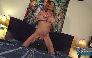 Mandy Mayhem rides a huge black dildo