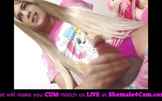 Cute blonde princess cums!
